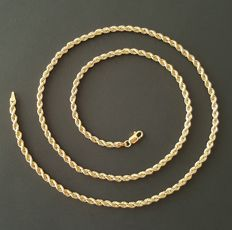 Yellow gold 18 kt necklace, rope style - Length: 60 cm - Weight 8.2 g