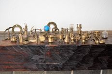 Collection of fifty various copper and brass miniatures