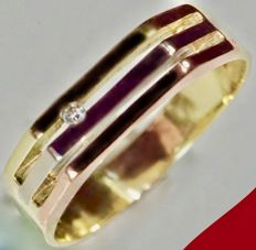 Heavy 14 kt - Tri-colour design men's ring set with diamond of approx. 0.04 ct - Ring size: Ø 19.50 mm * No Reserve Price *