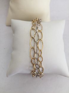 3 bracelets in one, 18 kt white and yellow gold links, 5.3 grams