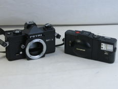 Lot of 2 cameras: OLYMPUS XA2 and Petri MF-1 slr body, M42 mount.
