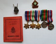 WW2 miniature medal group of 5 39-45, Africa & Italy Stars Defence & War Medal + 2 badges + document