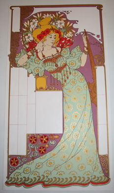 Geo Lefevre - Lithographed unused calendar sheet - Art Nouveau