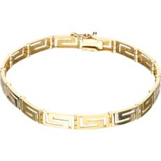 14 kt - Yellow gold link bracelet with a Greek meander pattern - length: 18 cm