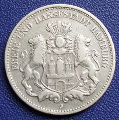 German Empire, Hamburg - 2 Marks 1904  J - silver