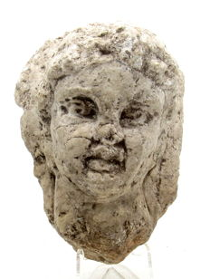 Ancient Roman Stone Statue's Head of Emperor Geta or Caracalla - 119x59mm