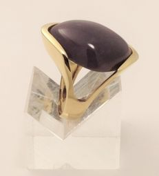 Ring in 18 kt yellow gold - amethyst - weight 11.35 g - new - 100% handmade in Italy Size 16, inner diameter: 17.70 mm