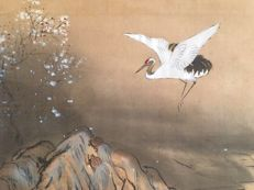 Old hand-painted scroll painting - signed Yoseki 陽石 - 'Cranes, Tortoises and Sun' - Japan - ca. 1920