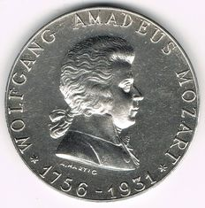 Austria - Silver Medal 1931 by A. Hartig on 175th Anniversary of the Birth of Wolfgang Amadeus Mozart, 1756-1931
