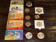 The Netherlands, 5 + 10 Euro coins Silver Coin cards + UNC 2002 through 2016 (14 pieces in total)