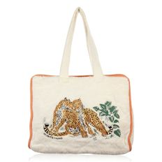Hermès Paris -  White Terry Cloth Cotton Beach bag with Embroidered Tiger