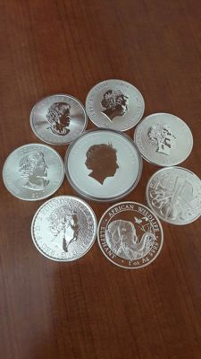 World - 8 Coins 2017/2018 'Australia, Somalia, USA, Canada, Cook Islands' Australia, Britain - silver