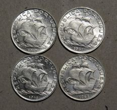 Portugal Republic – 5 Escudos – 1942/1947/1948 & 1951 .- Silver