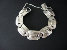 Karl Homann (KH) - Silver Art Deco chain bracelet with geometrical motives