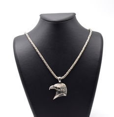 925 Italian sterling silver chain with Eagle head Pendant - 60 cm