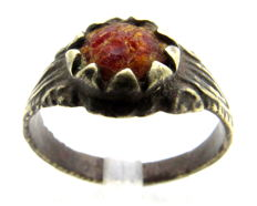 Medieval Bronze Decorated Ring with Red Stone in Bezel - WEARABLE GIFT WITH GIFT BAG - 20 mm