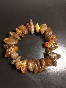 Vintage  Baltic Amber bracelet - natural shaped Amber elements, No reserve, 27.7 g