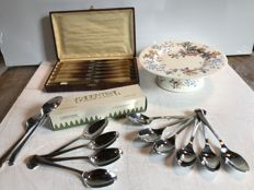 Lot of table objects - 1940 knife, 1950 porcelain cake plate, 1970 Goldsmith spoons
