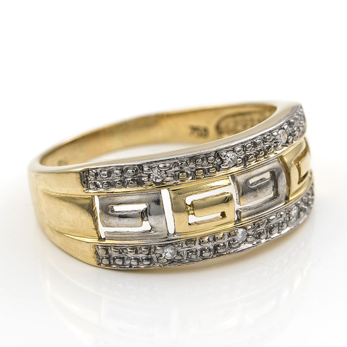 Yellow and white gold, 750/1000 (18 kt) - Cocktail ring - Diamonds of 0.10 ct Ring size: 15.50 (Spain)
