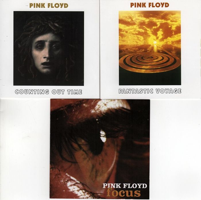 "Pink Floyd : lot of three rare unofficial cd's, two of which are 2cd's:  ""Fantastic voyage"" ""Counting out time - live recordings 1968-1977"" and ""Focus"""