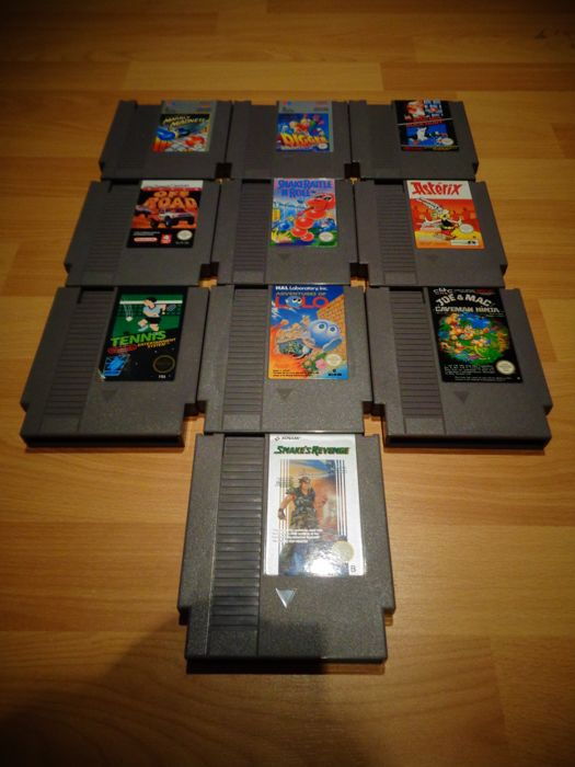 10 Nes Games, Adventures of Lolo, Snake Rattle and Roll, Asterix, Snake's Revenge, Mario Brothers and Duckhunt etc