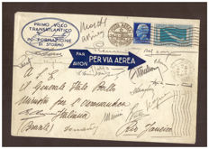 Kingdom of Italy 1930 - 7.70 Lire light blue and brown-grey, First Transatlantic crossing, letter with pilots' signatures - Sassone No. 25