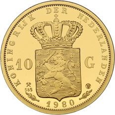 The Netherlands - restrike of the 10 guilder 1980 'Crowning ten Beatrix' gold