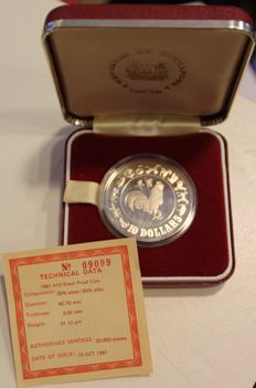 "Singapore - 10 Dollar coin 1981 ""Year of the Rooster"" - silver"