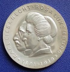 GDR or East Germany - 20 Marks 1971 - Karl Liebknecht und Rosa Luxemburg – Silver