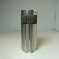 Cylindrical silver plated Dupont table lighter
