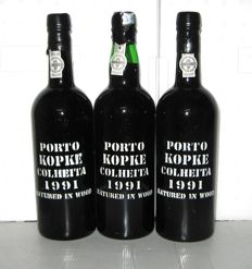 1991 Kopke Colheita Port, Bottled in 2002 + 2004 - lot 3 bottles (75cl)