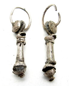 Viking Pair of Decorated Silver Earrings - WEARABLE GIFT WITH GIFT BAG - 53mm / 7.7 grams