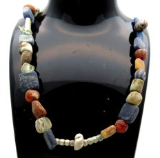 Medieval Viking period Necklace with Coloured Glass Beads and Shell - Wearable Gift with Gift Bag - 480 mm