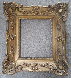 Painting / mirror frame of gilded cameo on wood in Baroque style - C. 1880, France