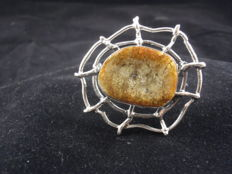 Vintage sterling silver & Baltic Amber brooch, total weight 15,57 g