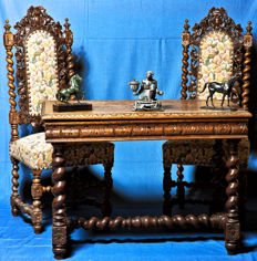 Louis XIII - 2 chairs and table
