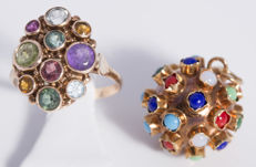 14 gold ring and pendant with different colour stones, 1960s