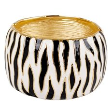 KJL Kenneth Jay Lane Zebra Stripe Wide Bracelet
