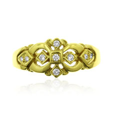 0.27ct Diamond Fantasy 18kt yellow gold (3.9 gram) Ring size: 60-19-R 1/2 (UK)Ring for larger finger-size, as new