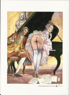 "Manara, Milo - 2x lithographs ""Mozart"" and ""Ciak"""