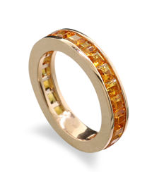 High-quality memoire ring with orange yellow citrines in 750 rose gold, ring size: 55.5 --- no reserve price ---