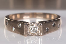Diamond ring with matte details - Size: 50 - No Reserve price!