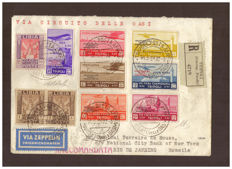 Tripolitania 1934 - 'Circuito delle Oasi' complete series and complementary postage on aerogramme from Tripoli to Rio de Janeiro - Sass.  S32