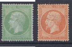 France 1862 – Yvert 20 and 23 Signed calves