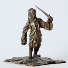 Vienna bronze warrior with sword on carpet in Bergman style - Austria - early 20th century