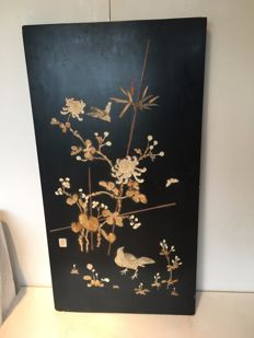 Wooden lacquerware panel inlaid with bone - signed - Japan - early 20th century