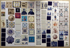 Collection of tiles, 92 pieces