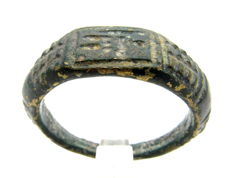 Roman Bronze Ring With God Mars with Spear on the bezel - WEARABLE GIFT WITH GIFT BAG - 20 mm