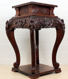 Richly decorated hand-carved Chinese side table, mid-20th century (74 cm)