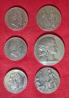 Europe - Lot of 6 coins and medals (Belgium, France, Italy) - silver